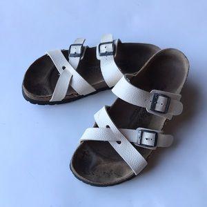 Birkenstock white leather cross-cross sandals 7